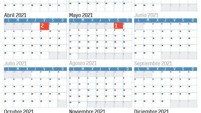 Calendario laboral para 2021.