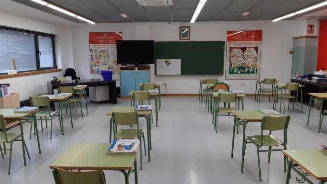 Un aula de un colegio de València