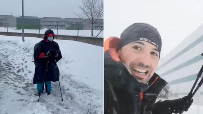 Dos sanitarios acuden a su trabajo a través de la nieve para ayudar a sus compañeros.
