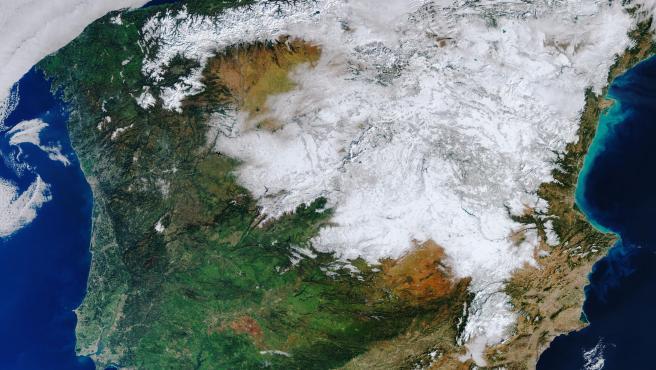 Imagen de la nevada provocada por la borrasca Filomena vista desde el espacio.