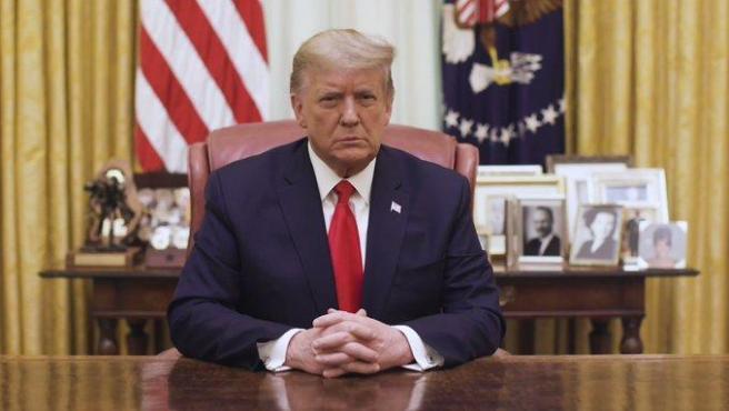 El presidente saliente de EE UU, Donald Trump, durante un discurso en vídeo emitido tras la aprobación de un 'impeachment' contra él por parte de la Cámara de Representantes.