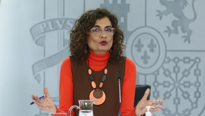 La ministra de Hacienda, María Jesús Montero durante una rueda de prensa