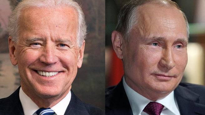 Montaje de fotos de Joe Biden y Vladimir Putin.
