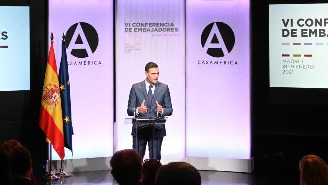 Pedro Sánchez, este lunes en la apertura de la Conferencia de Embajadores.