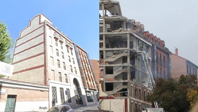 Antes y después de la explosión en el edificio