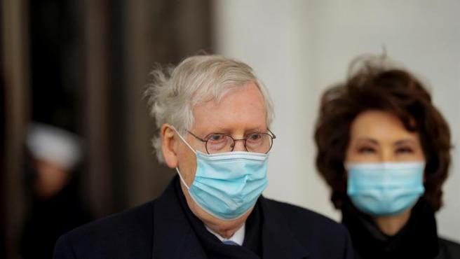El líder de la minoría republicana del Senado de EE UU, Mitch McConnell, durante la ceremonia de investidura de Joe Biden como presidente.