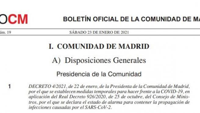 Boletín Oficial de la Comunidad de Madrid.