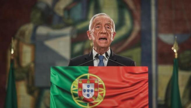 Marcelo Rebelo de Sousa, en Lisboa, durante su discurso tras ser reelegido presidente de Portugal.