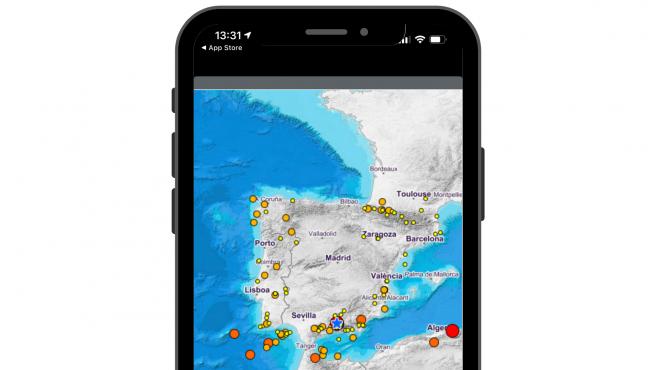 La app marca con una estrella azul el lugar del epicentro del terremoto.
