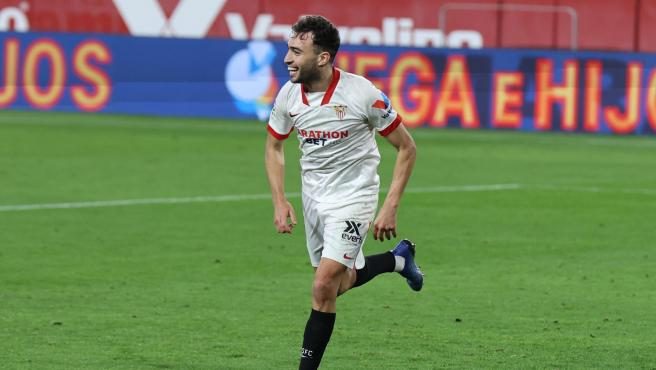 Munir El-Haddadi, durante un partido del Sevilla