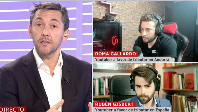Javier Ruiz y los 'youtubers' Roma Gallardo y Rubén Gisbert en 'Cuatro al día'.