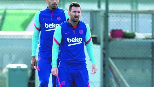 Leo Messi, en el entrenamiento de este martes del FC Barcelona.