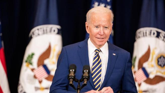 El presidente de EE UU, Joe Biden, en el Departamento de Estado, en Washington.