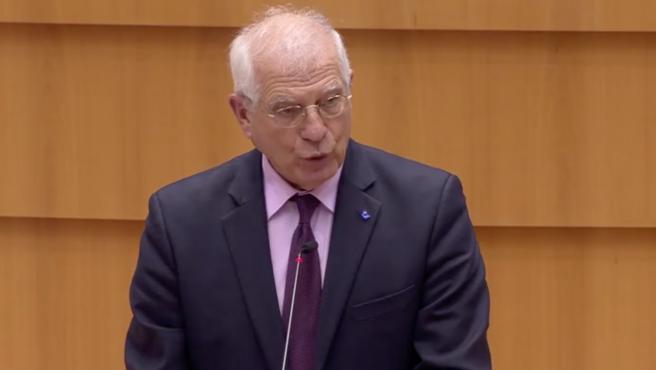 Josep Borrell, ante el Parlamento Europeo.