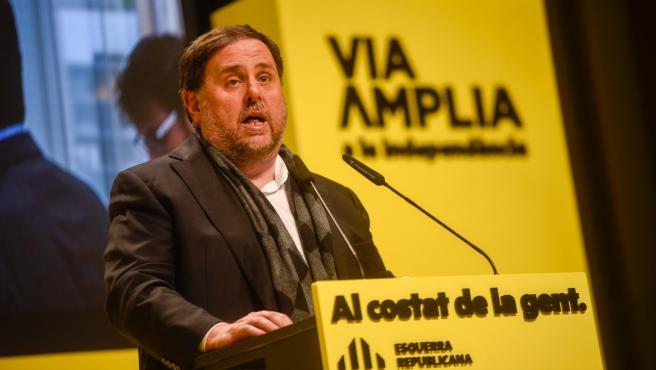 El líder de ERC, Oriol Junqueras, en un mitin en Vilanova i la Geltrú (Barcelona).