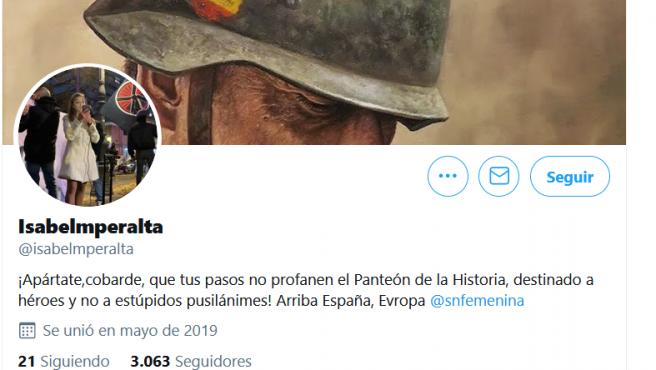 Captura de pantalla del perfil de Isabel Medina en Twitter