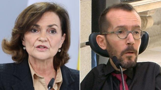 """La vicepresidenta primera del Gobierno, Carmen Calvo, ha reprochado este jueves al portavoz de Unidas Podemos en el Congreso, Pablo Echenique, que se dedique a """"alentar"""" las protesta que tuvieron lugar en Madrid y Cataluña en apoyo al rapero Pablo Hasel."""
