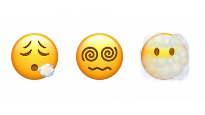 Los nuevos emojis de Apple incluyen una cara tosiendo.