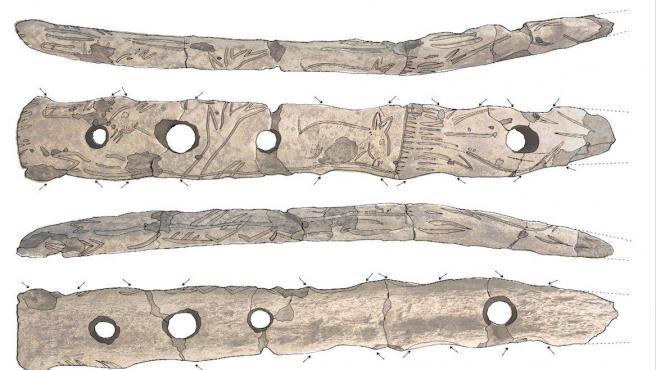 Fotografías y dibujos del bastón encontrado en la cueva de Aizkoltxo (Gipuzkoa).