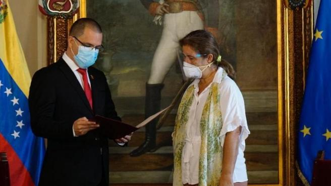 Jorge Arreaza recibe a la embajadora de la UE, Isabel Brilhante Pedrosa