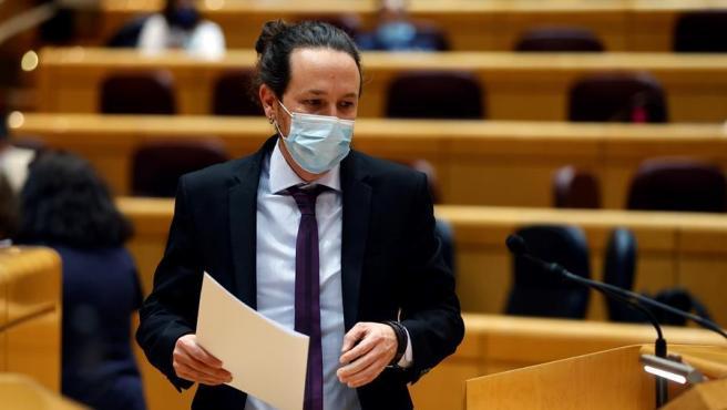 Pablo Iglesias, en la sesión de control al Gobierno en el Senado.