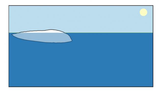 El dibujo muestra un iceberg alargado que inicialmente se colocó en forma vertical.