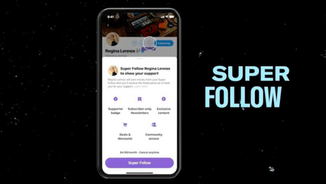 La nueva función 'Super Follow' cuesta 4,99 dólares al mes.