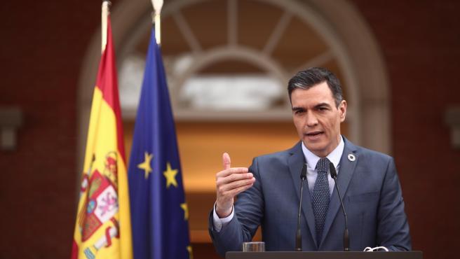 El presidente del gobierno, Pedro Sánchez, en una rueda de prensa.