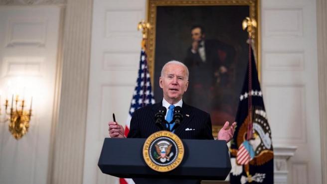 El presidente de EE UU, Joe Biden, informa sobre la evolución de la vacunación contra la covid-19 en el país.