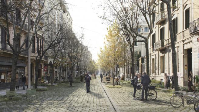 Reproducción gráfica de cómo será parte del nuevo eje verde de Consell de Cent, en el Eixample de Barcelona.