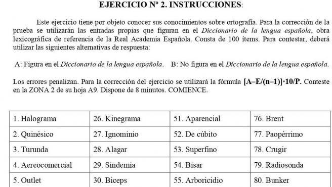 Examen de ortografía de las oposiciones a la Policía Nacional.