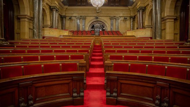 El hemiciclo del Parlament de Catalunya vacío, en una imagen de archivo.