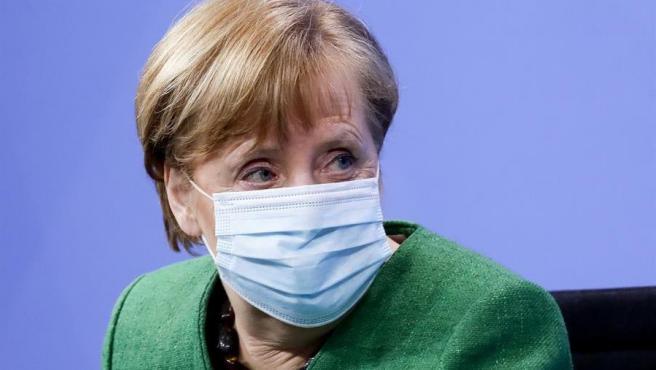 La canciller de Alemania, Angela Merkel, tras una reunión con los jefes de Gobierno de los estados federados para analizar la evolución de la pandemia del coronavirus en el país.