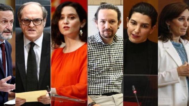 De izquierda a derecha: Edmundo Bal (Cs); Ángel Gabilondo (PSOE); Isabel Díaz Ayuso (PP); Pablo Iglesias (Unidas Podemos); Rocío Monasterio (Vox); y Mónica García (Más Madrid)..