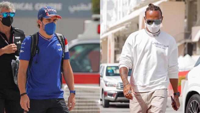 Fernando Alonso y Lewis Hamilton, en su llegada al circuito de Bahréin