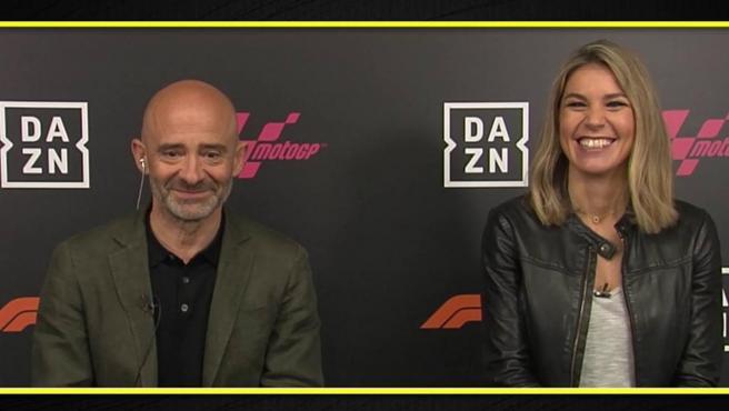 Antonio Lobato y Nira Juanco, narrador y editora de DAZN F1
