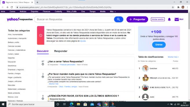 Yahoo Respuestas cerrará el 5 de mayo, pero hasta el 30 de junio se podrán solicitar todos nuestros datos almacenados en la plataforma