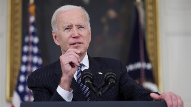 El presidente de EE UU, Joe Biden, informa sobre la evolución de la campaña de vacunación contra la covid-19 en su país, en la Casa Blanca.