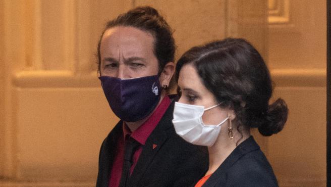 El candidato de Podemos, Pablo Iglesias, y la actual presidenta de la Comunidad de Madrid, Isabel Díaz Ayuso, en una foto de archivo.