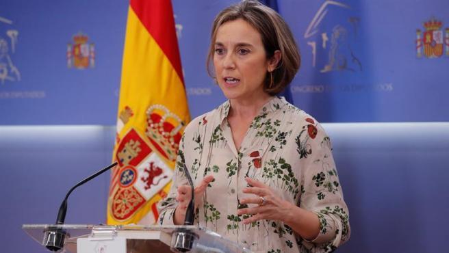El portavoz del PP en el Congreso, Cuca Gamarra, en rueda de prensa.