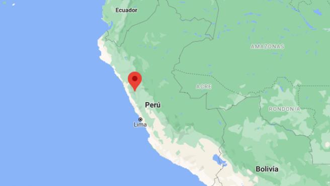 Localización de la región de Áncash, en Perú.
