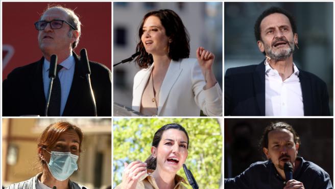 Combo de imágenes de los candidatos a la Presidencia de la Comunidad de Madrid en las elecciones del 4-M.