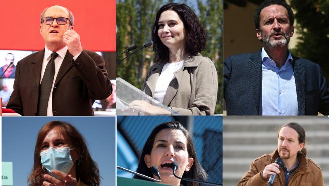Los seis candidatos a presidir la Comunidad de Madrid, este domingo en actos electorales.