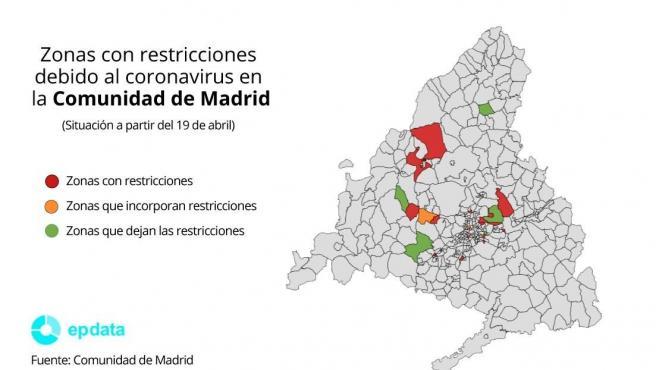 Zonas con restricciones debido al coronavirus en la Comunidad de Madrid a partir del 19 de abril.