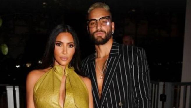 Kim Kardashian y Maluma, en el cumpleaños de Victoria Beckham.