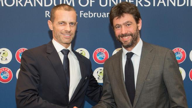 Aleksander Ceferin, presidente de la UEFA, y Andrea Agnelli, presidente de la Juventus