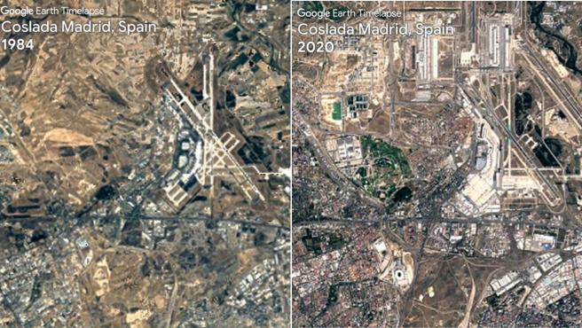Antes y después de la zona de Coslada en Madrid.