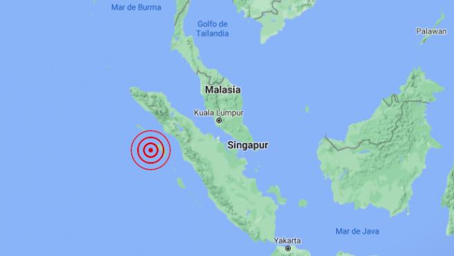 Localización del epicentro del terremoto registrado en Indonesia, al oeste de Sumatra.