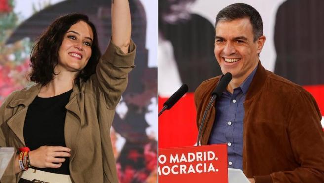 Ayuso y Sánchez, en campaña.