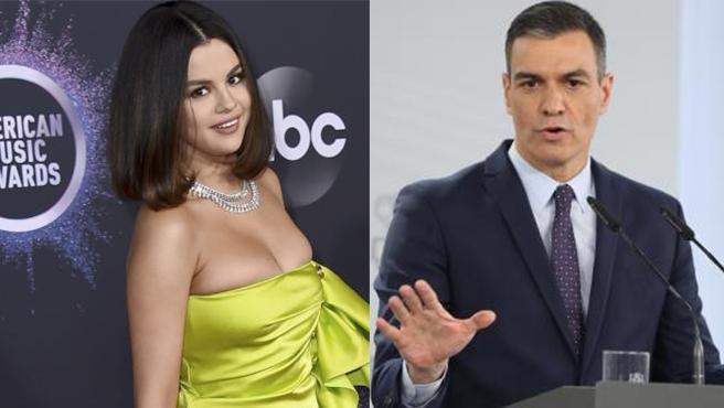 Montaje de Selena Gomez y Pedro Sánchez.